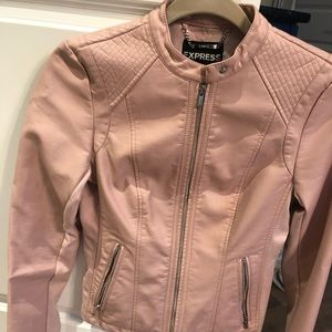 Express Faux Leather Moto Jacket Blush Pink